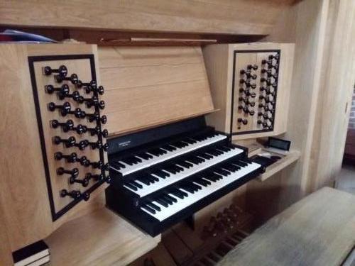 Løgumkloster. Spieltisch der Orgel